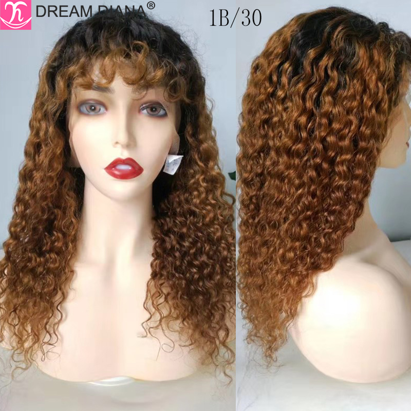 DreamDiana Remy Brazilian Hair Wigs Ombre Water Wave Lace Front Wig 150 Density Pre Colored 13x4 Lace Front Human Hair Wigs L