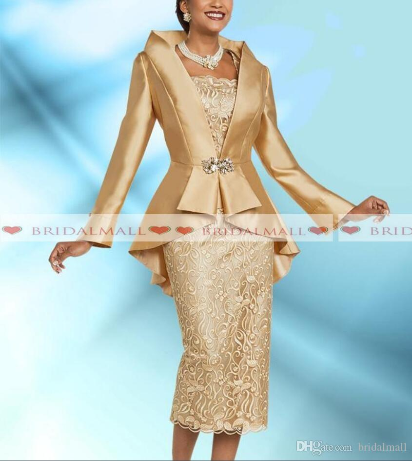 Plus Size Gold Mother Of The Bride Dresses With Jacket Elegant Tea Length Long Sleeve Wedding Guest Dress Formal Evening Gowns