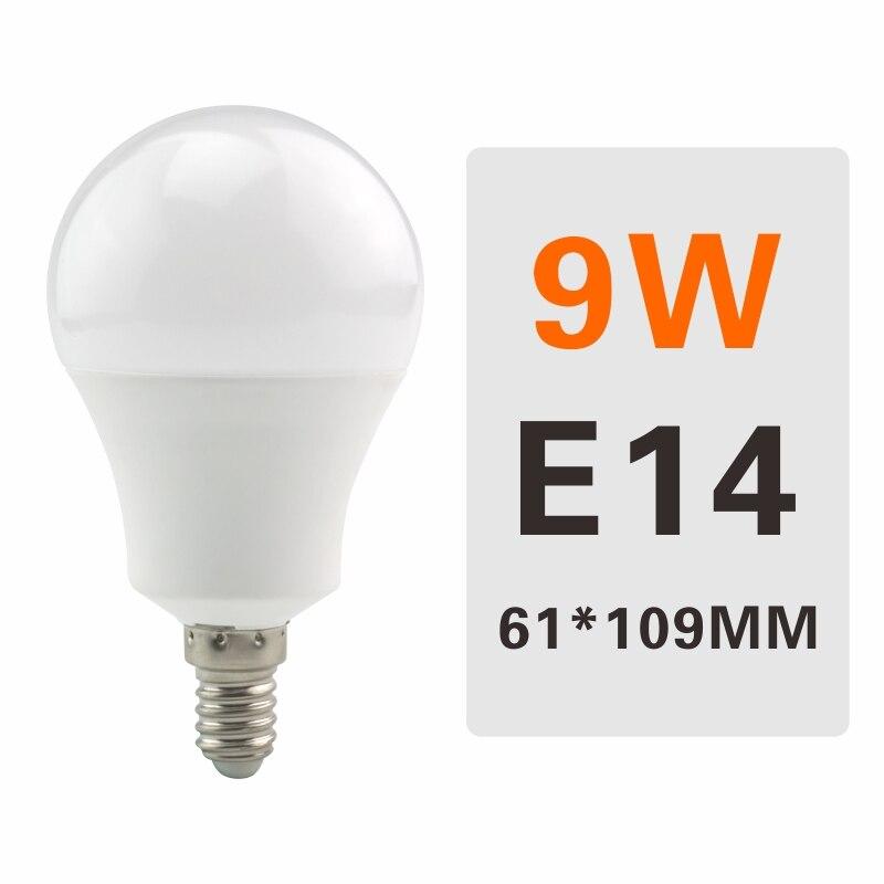 E27 E14 LED Bulb Lamps 3W 6W 9W 12W 15W 18W 20W Lampada Ampoule Bombilla LED Light Bulb AC 220V 230V 240V Cold/Warm White - Испускаемый цвет: 9W E14