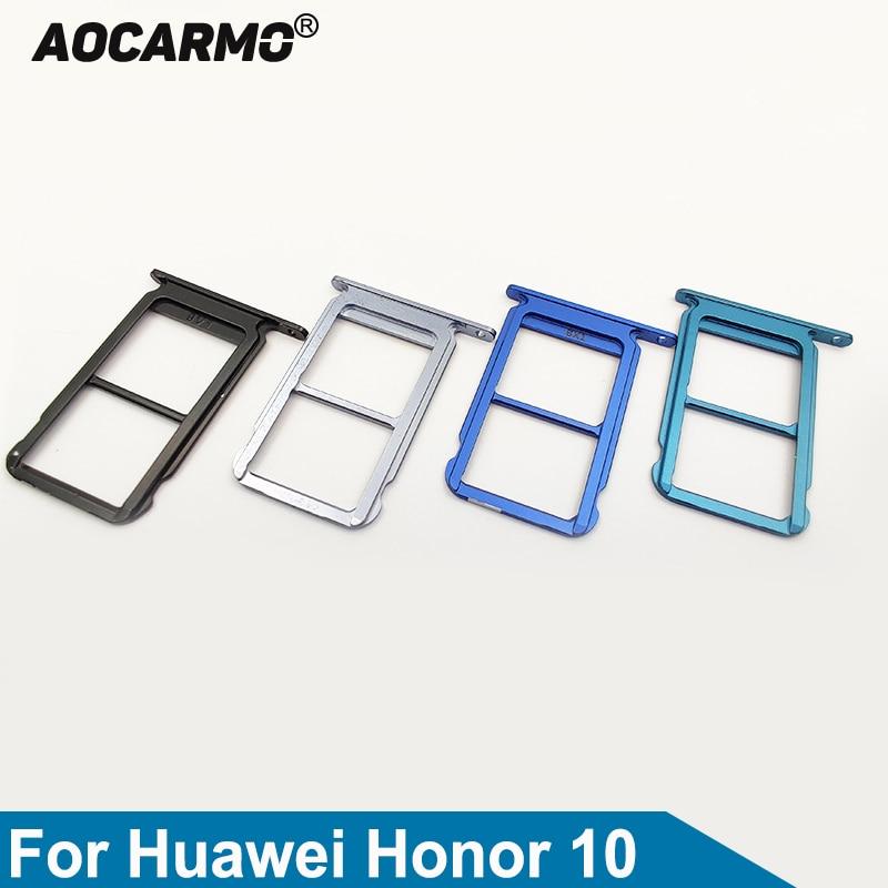 Aocarmo For Huawei Honor 10 COL-AL10 Honor10 Lite Black/Grey/Blue/Purple SD MicroSD Holder Nano Sim Card Tray Slot