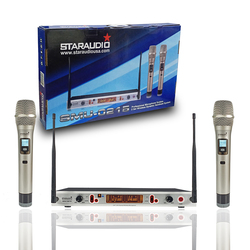 STARAUDIO Dual Channel UHF Handheld Adjustable Frequency Wireless Microphone System 2CH Church Stage Home Wedding Mic SMU-0215A