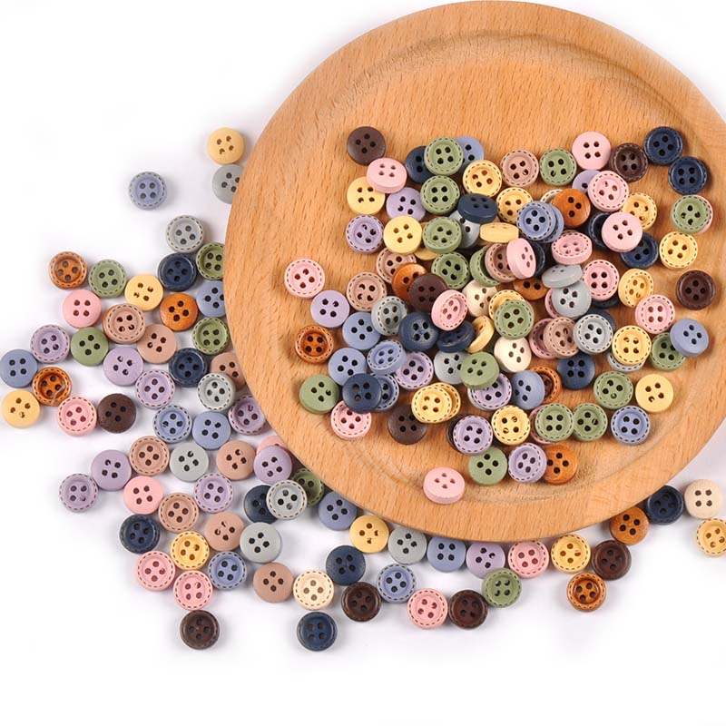 100pcs Mixed Color Wood Buttons For Handwork Diy Scrapbooking Crafts Sewing Accessories Clothing Supplies Home Decor 10mm M2599