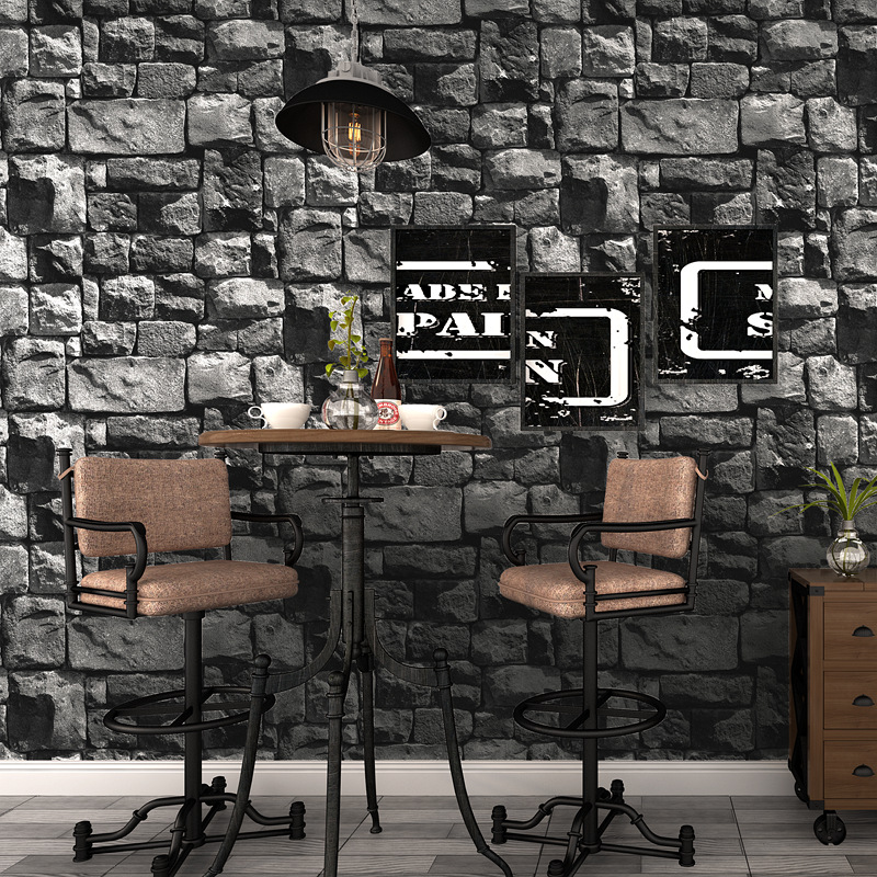 3D Retro Stone Wallpaper Cafe Restaurant Hotel Front Desk Bar Living Room Background Model Stones Wallpaper
