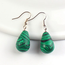 FYJS Unique Silver Plated Summer Style Water Drop Malachite Stone Earrings Modern Accessories