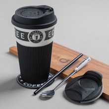 Ceramic Mug Coffee-Cup Office Christmas-Gift Artistic with Lid And Spoon 400ml Simple