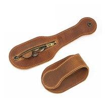 Wallet-Bag Crazy-Horse Purse Belt New Coin Wear Outdoor Retro Zipper Men Self-Defense-Tool