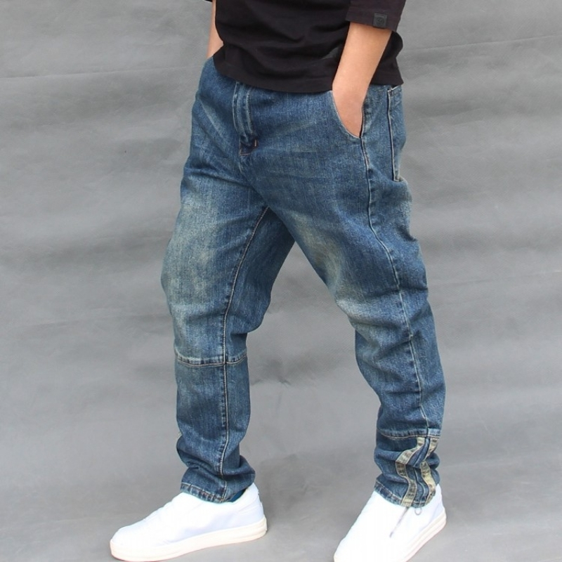 Mens Summer Denim Harem Pants Loose Plus Size Hip Hop Streetwear Zipper Jeans Fashion Baggy Jogger Trousers Elastic Pencil Pants