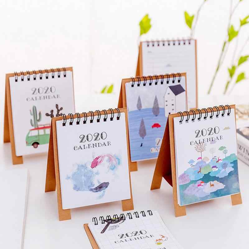 2020 Fresh Cartoon Mini Desktop Paper Calendar dual Daily Scheduler Table Planner Yearly Agenda for Office School Home