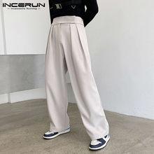 Mode taille haute pantalon droit INCERUN hommes couleur unie pantalons décontractés homme ample fermeture éclair pantalons Style coréen Joggers S-5XL