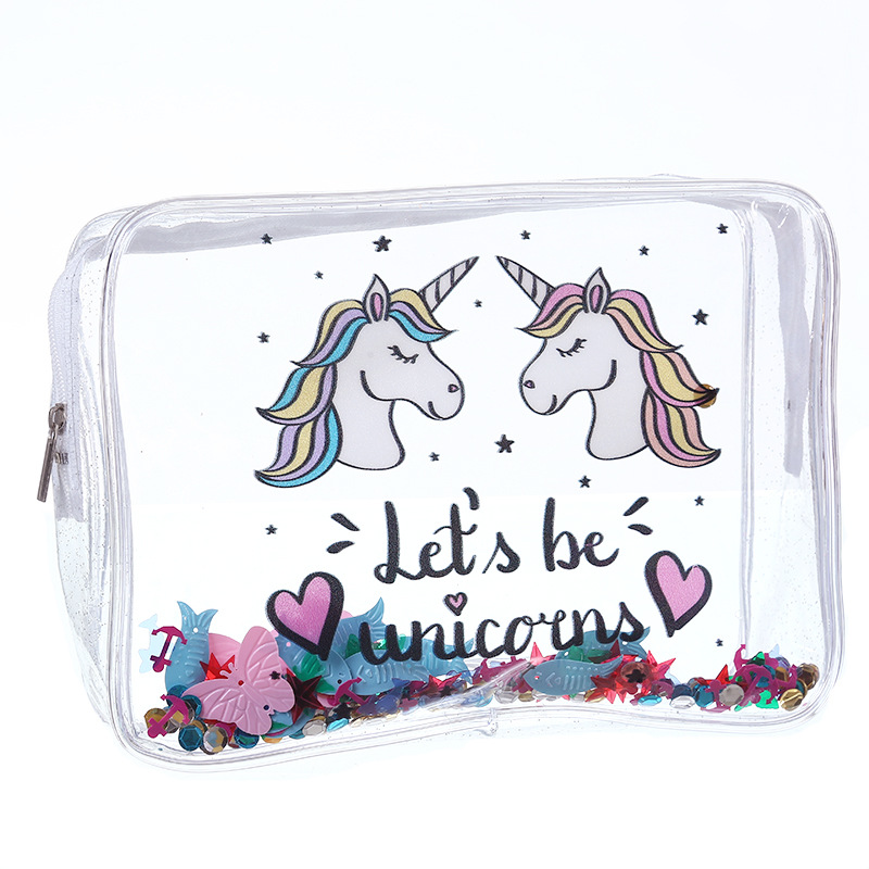 Women's Bags Transparent Cartoon Unicorn PVC Makeup Bag Waterproof Cute PVC Travel Makeup Cosmetic Toiletry Zip Bag Pouch