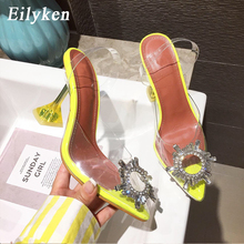 Eilyken Yellow PVC Transparent Women Pumps Crystal Pointy Toe High Heels