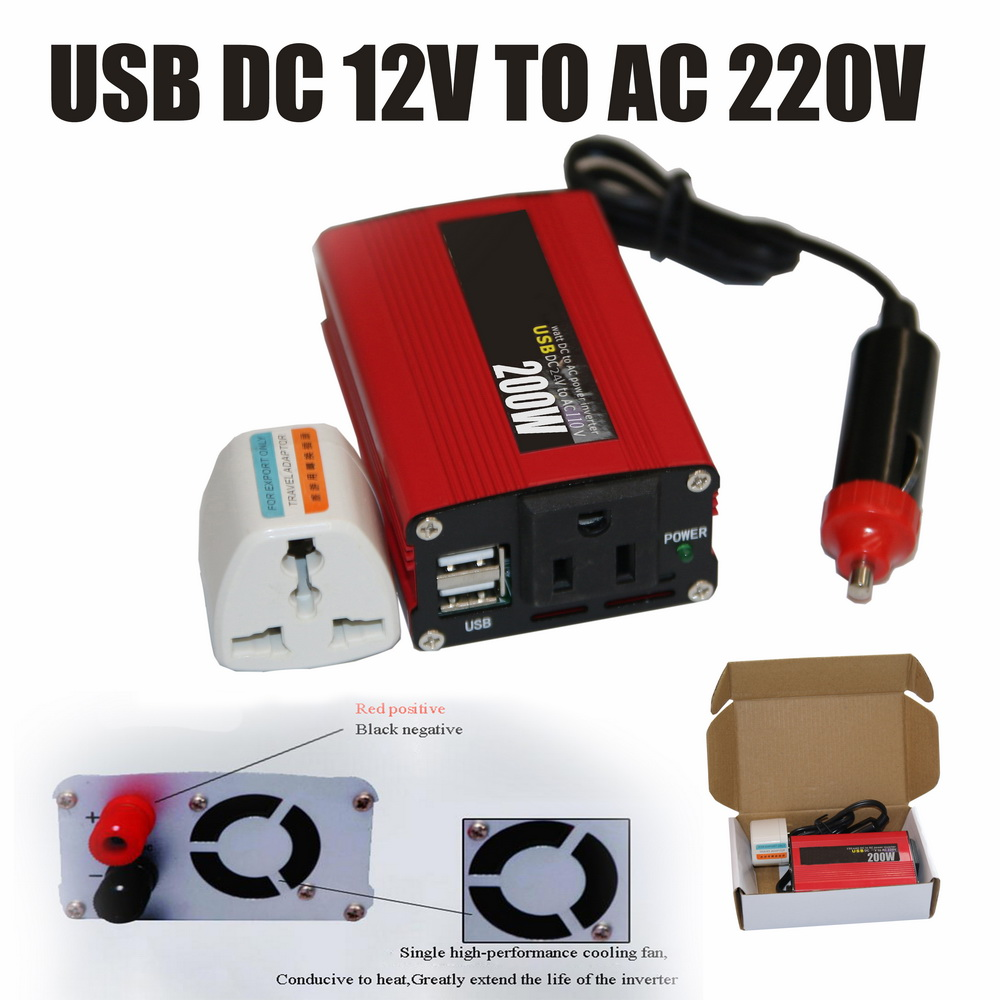 <font><b>200W</b></font> <font><b>Inverter</b></font> with USB Port With Fan In Red Power <font><b>Inverter</b></font> Portable Auto 50Hz Car Converter DC 24V to AC 110V Modified Sine Wave image