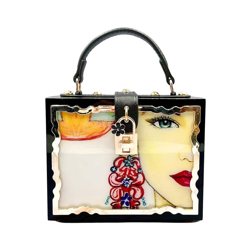 Bag For Women Fashion Flower Pattern Box Style Party Handbag Clutch Luxury Women Purses Acrylic Designer Crossbody Bag-BeeInFly
