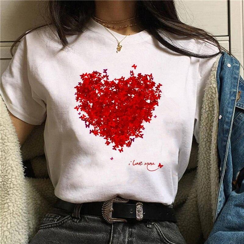 Impressão gráfica do amor das senhoras da cópia da flor do coração das senhoras do camiseta das senhoras da base ocasional o-colarinho camisa branca da luva curta