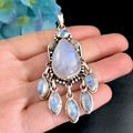 Natural moonstone colar pingente nepalês artesanal 925 prata esterlina vintage jóias pingente da mulher