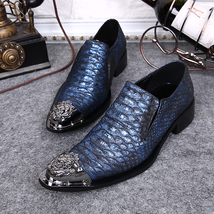 New Men's Designer Snake Pattern Men Formal Shoes Genuine Leather Wedding Dress Shoes Office Classic Business Oxford Shoe - 3