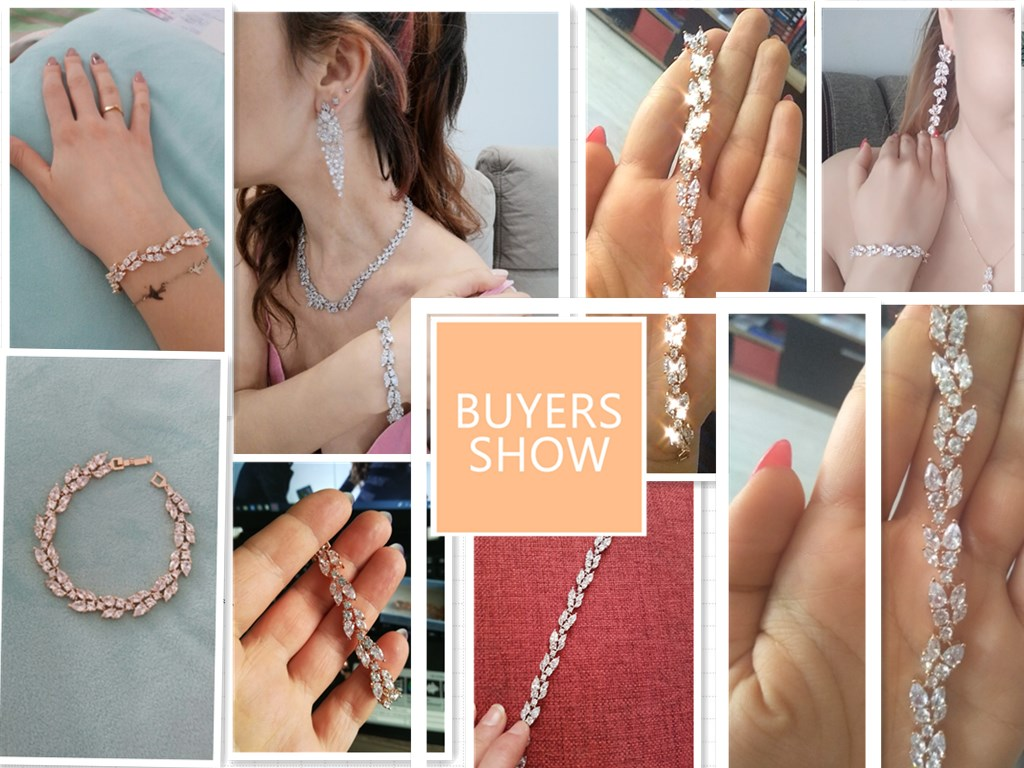 ZAKOL High Quality Clear White Cubic Zirconia Leaf Pattern Bracelets Bangles For Women Girl Gift Fashion Wedding Jewelry FSBP001