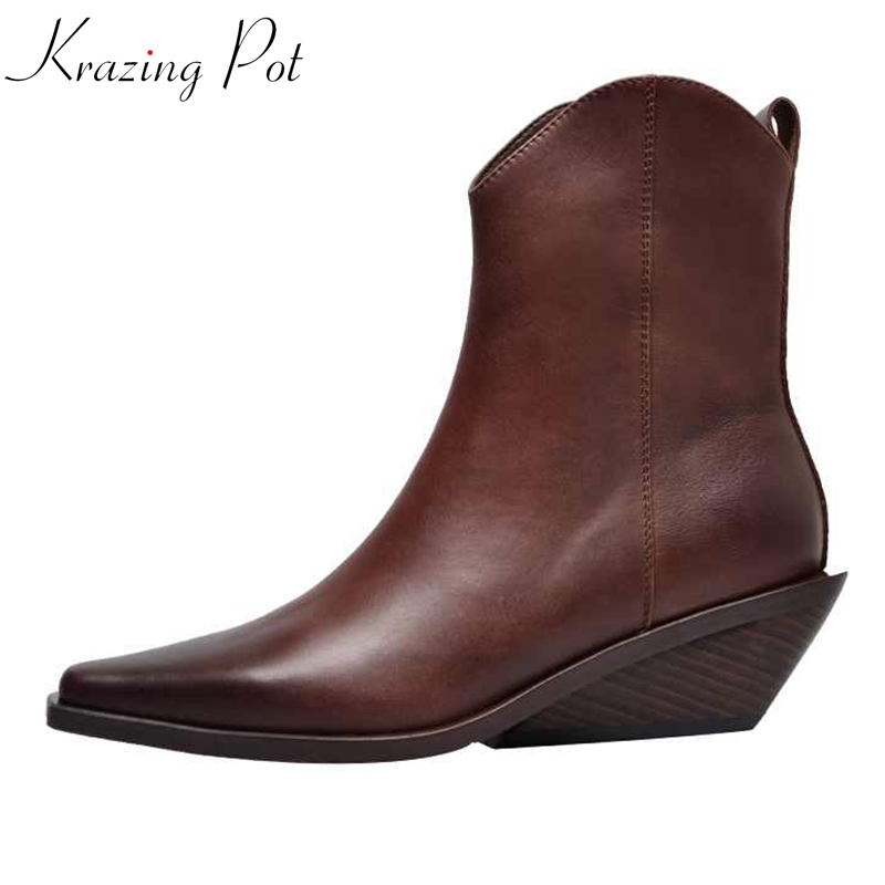 krazing pot recommend genuine leather square high heel pointed toe zipper charming model runway vintage Chelsea ankle boots l63
