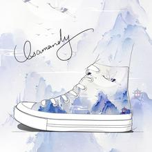 Original Design Fashion Chinoiserie Ink Painting Canvas Shoe