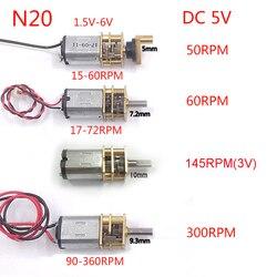 Миниатюрный редукторный двигатель N20, постоянный ток, 3-6 в, 15 об/мин-300 об/мин, медленный высокий крутящий момент, полностью металлический ред...