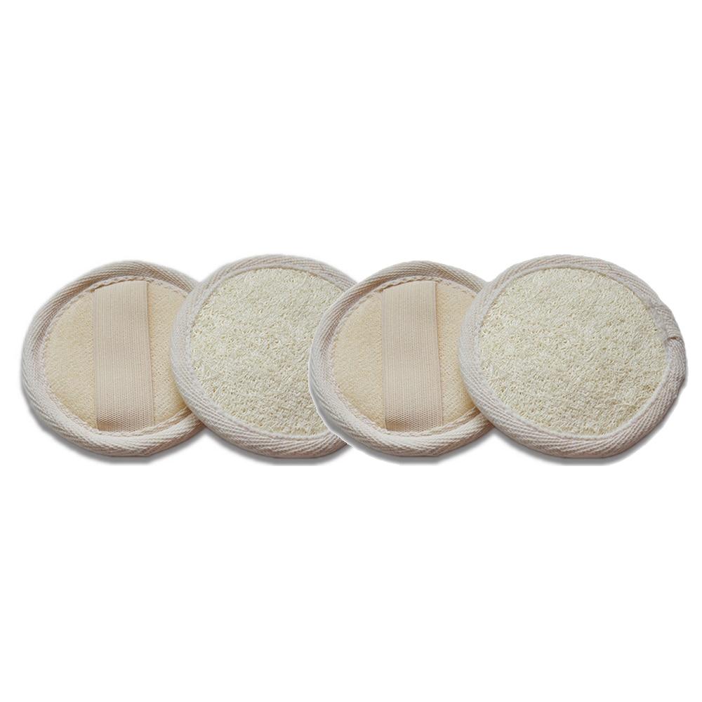 4pcs Natural Loofah Pad Exfoliating Loofah Sponge Pads Face