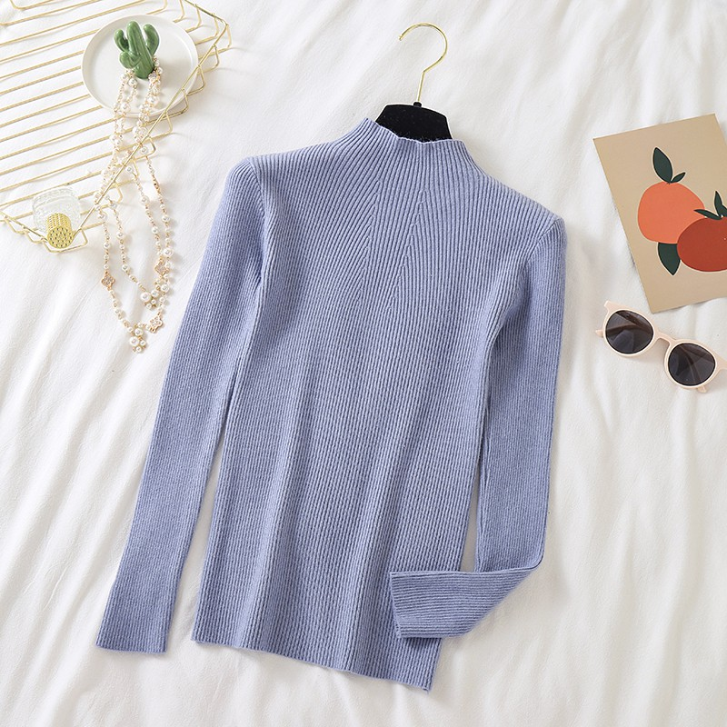 Women Autumn Korean Knitted Sweaters Half-high Collar Korean Slim Fit Basic Bottoming Knitted Jumper Harajuku PulloverCM