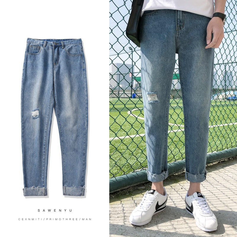 With Holes Capri Jeans Men National Trends Slim Fit Pants Straight-Cut Casual Beggar Pants Men's Korean-style Summer Thin Sectio