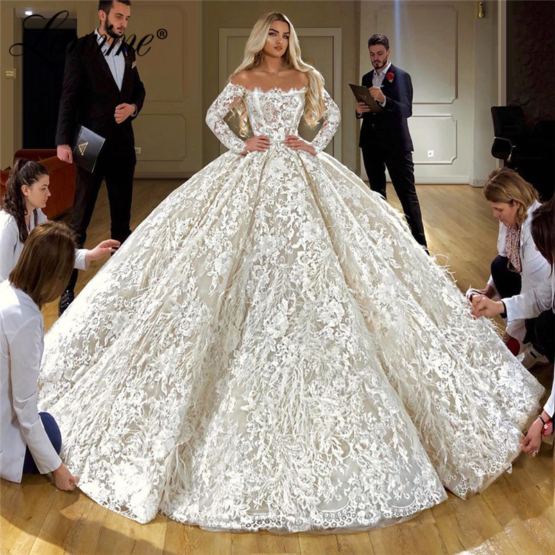Feather Lace Wedding Dresses 2020 Vestido De Noiva Long Sleeves Wedding Dress Robe De Mariee Mariage Wedding Gowns Bride Dress
