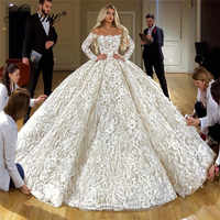 Feder Spitze Hochzeit Kleider 2020 Vestido De Noiva Lange Ärmel Hochzeit Kleid Robe De Mariee Mariage Brautkleider Braut Kleid