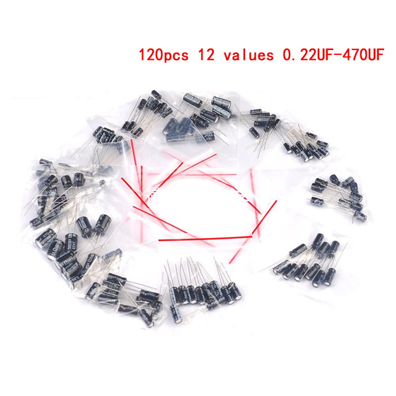 120PCS/LOT 12 Values 0.22UF-470UF Aluminum Electrolytic Capacitor Assortment Kit Set Pack