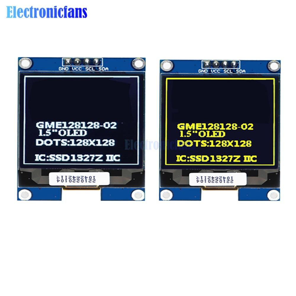 1.5 Polegada 128x128 oled escudo módulo de tela iic i2c interface ssd1327 driver 1.5 driver display placa de tela branco amarelo para arduino