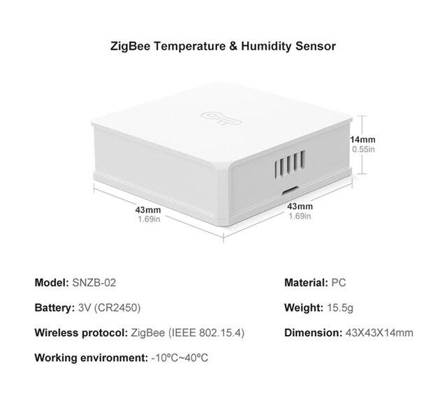 SONOFF SNZB-02 ZB capteur dhumidité de la température application de maison intelligente WIFI télécommande ZBBridge contrôle des données en temps réel Via eWeLink