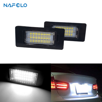 Error Free 18Led Number Plate Light For BMW E39 E60 12V 6000K Canbus Car License Plate Light for bmw E90 E91 E92 E93 325xi 328i image