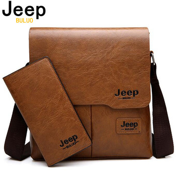 JEEP BULUO Man's 2PC/Set Leather Messenger Shoulder Bag 1