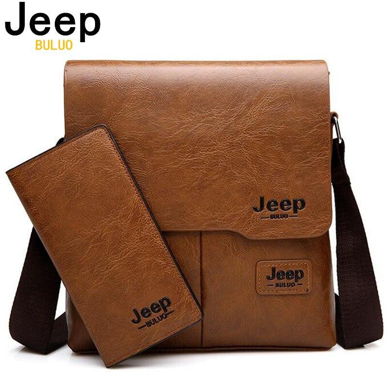 JEEP BULUO 남자 가방 2 개/대/세트 남자 가죽 메신저 어깨 가방 비즈니스 Crossbody 캐주얼 가방 유명 브랜드 남성 드롭 배송
