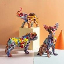Decoraciones de perro de cores para a entrada da casa, armario de vino, decoração de obras, artesanato de resina