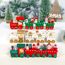 Wooden Christmas Train Merry Christmas Decorations For Home 2019 Christmas Ornaments Chrismas Gifts Kerst Navidad Noel New Year 4 section little train christmas ornaments