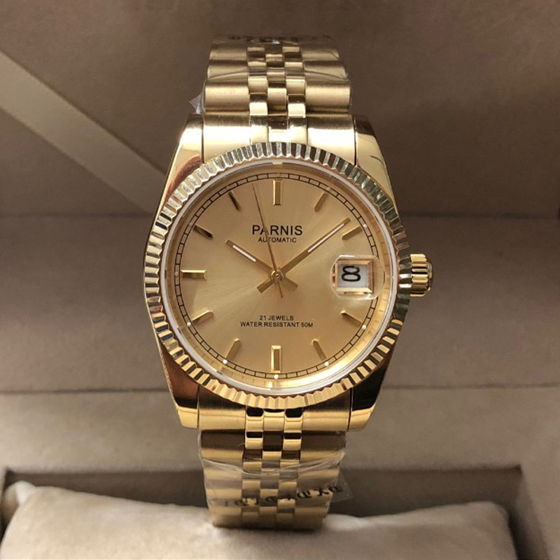 New Parnis Automatic Mechanical Men's Watch Gold Men Women Elegant Calendar Stainless Bracelet Watches Man Clock box gift PA2112
