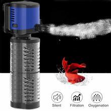 SUNSUN Multi-function 4 in 1 Internal Aquarium Sponge Filter for Fish Tank Submersible Water Pump Wave Maker Oxygen Air Pump multi function air pump blue