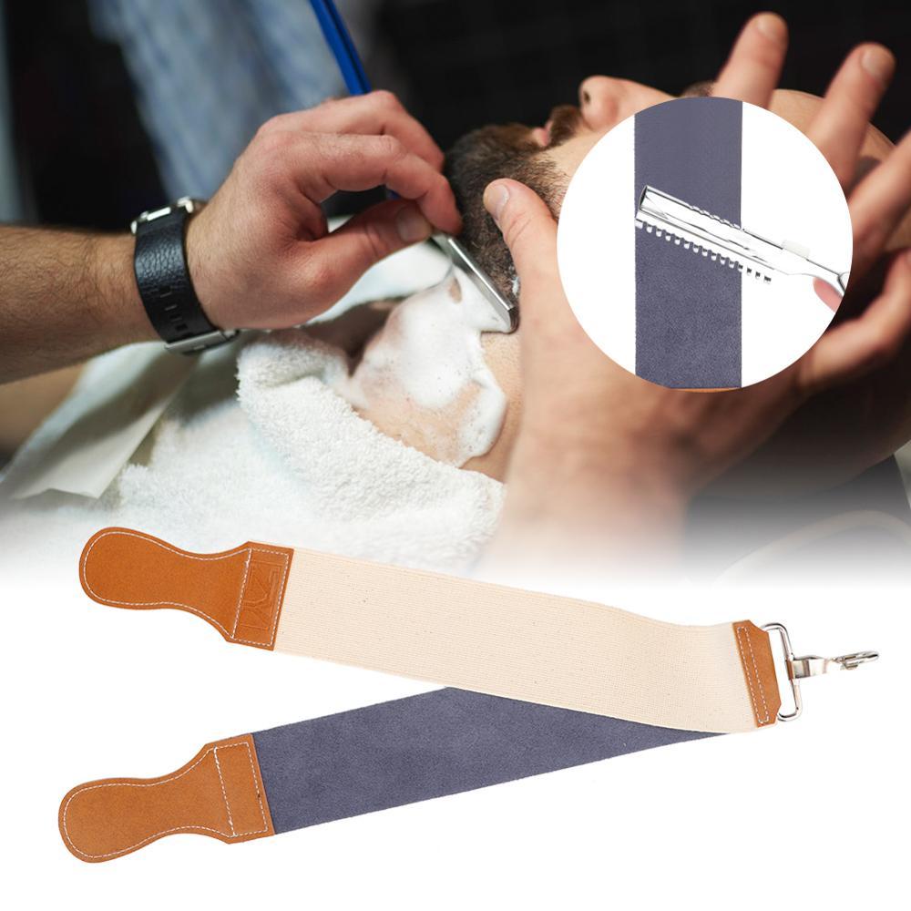 Cuchilla de afeitar recta de doble cara, cuchillo de afeitar de cuero PU de doble capa, cuchillo de afeitar recto para afilar, cinturón, cuchilla de afeitar, herramientas depilatorias