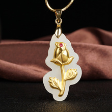 Best selling natural Hetian white jade pendant inlaid 24K gold rose love necklace pendant jewelry gift new authentic 24k 999 yellow gold pendant 3d lucky rose pendant 1 18g