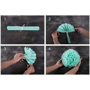 Image 5 - 9 unidades/juego de pompones de seda para boda, pompones de papel decorativos, pompones, bolas, fiesta, decoración del hogar, decoración de fiesta de cumpleaños