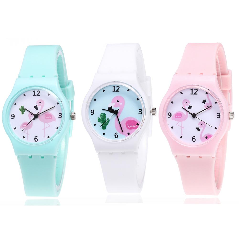 Lovely Flamingo Cartoon Kids Watches Children Girls Student Quartz Watch Silicone Strap Kids Watch Jelly Color Montre Enfant