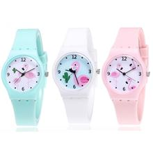 Lovely Flamingo Cartoon Kids Watches Children Girls Student