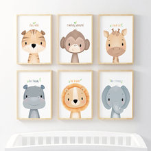 Cute Cartoon Animal Decorative Picture Lion Baby Elephant Children's Room Kindergarten Canvas Painting Wall Art Kids Room Decor