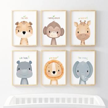Cute Cartoon zwierząt dekoracyjny obraz lew dziecko słoń pokój dziecięcy przedszkole płótno malarstwo ścienne sztuki wystrój pokoju dla dzieci tanie i dobre opinie ICANVAS Płótno wydruki Pojedyncze Na płótnie Wodoodporny tusz Unframed Nowoczesne (20200519-01RM)0805 Malowanie natryskowe