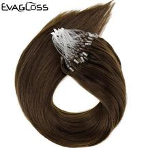 Hair Human-Hair-Extensions Micro Micro-Beads/rings-Loop EVAGLOSS Straight Silky Real-Remy-Keratin