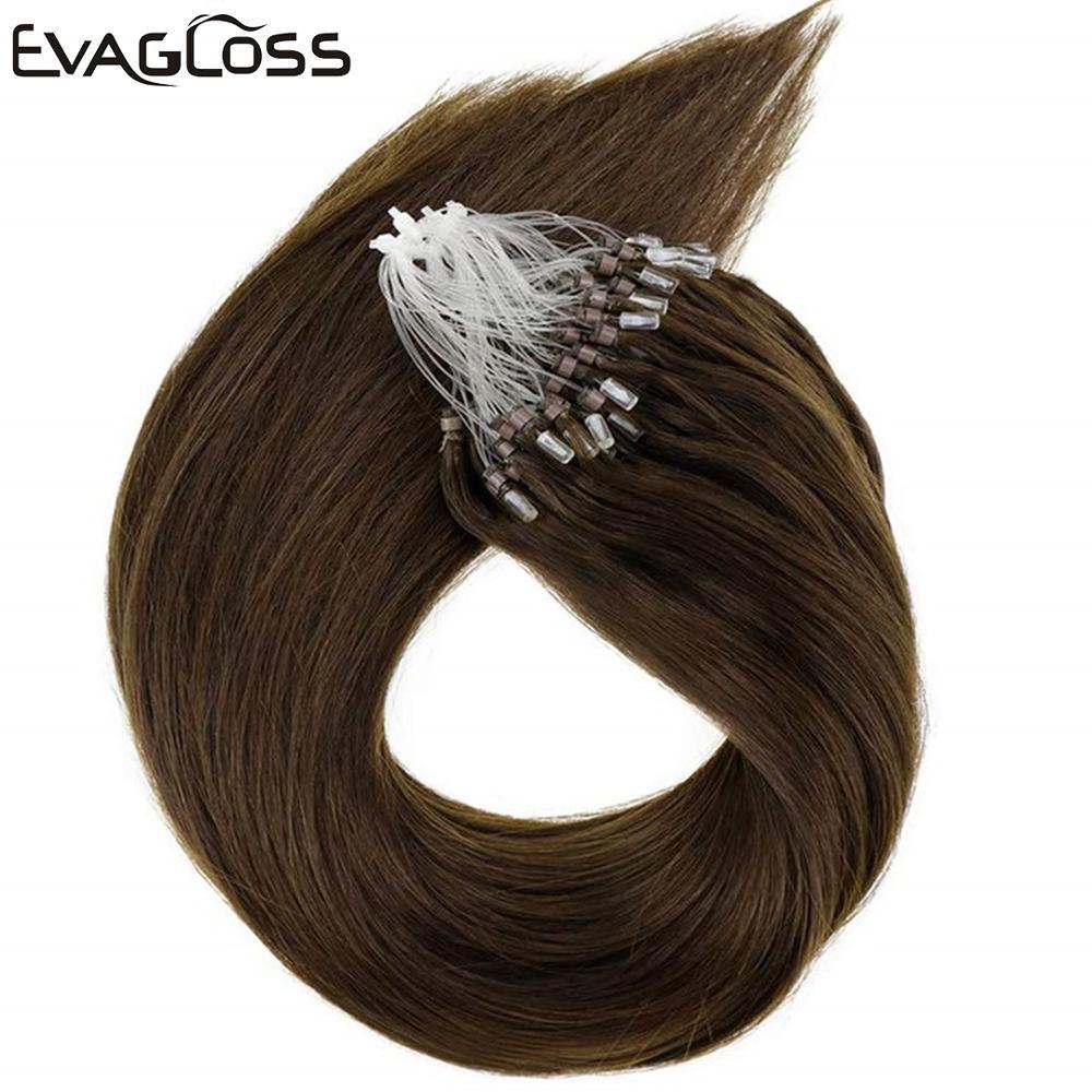 EVAGLOSS Real Remy Keratin Hair Silky Straight Micro Beads/Rings Loop Human Hair Extensions