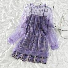Coreano vestidos de cintura alta selvagem fina do vintage 2020 nova moda primavera verão roupas botão sólido a linha vestido completo g1966