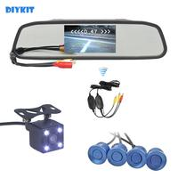 DIYKIT Wireless Video Parking Radar 4 Sensors 4.3 Inch Car Mirror Monitor + 4 x LED Car Rear View Camera Parking Assistance